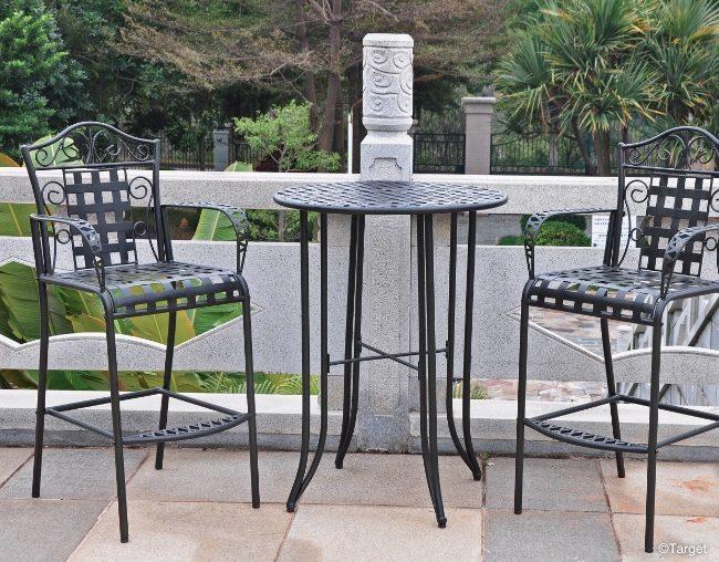 3pc Iron Bar Height Patio Bistro Furniture Set
