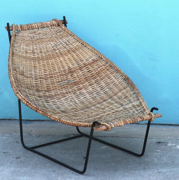 DannyHoFong Mid-Century Rattan Patio Lounger