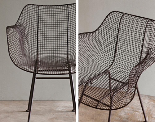 Brown Mesh Wire Armchair