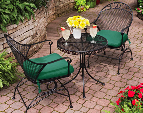 Wrought Iron Bistro Set with Rounded top and Green Cushions