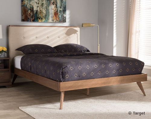 Beige Fabric and Walnut Wood Platform Bed