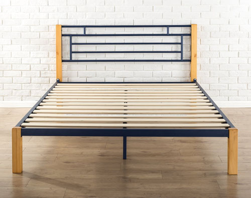 Navy Metal & Wood Bed Frame