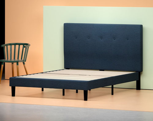 Upholstered Navy Platform Bed Frame