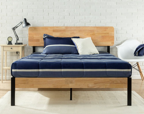 Metal & Wood Slat Platform Bed