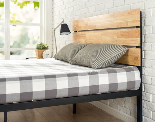 Slatted Metal & Wood Platform Bed